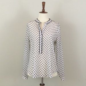 Ann Taylor LOFT white Black Polka Dot Blouse
